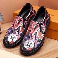 Louis Vuitton LV New fashion more letter tartan print shoes Black