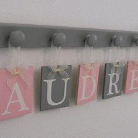 AUDREY Nursery Wooden Wall Letters Sign Includes 6 Wooden Pegs in Light Pink and Gray. Personalized Hanging Ribbon Name Tags for AUDREY