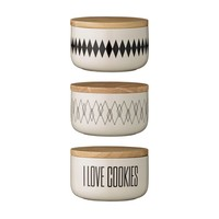 Cream & Black Jar with Wood Lid, 3 Styles