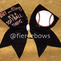 Dirt and Bling Softball Bow