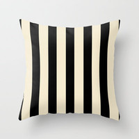 Bold Strips (Black & Nude) Throw Pillow by daniellebourland | Society6