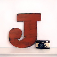 Uppercase Letter J (Pictured in Brick) Pine Wood Sign Wall Decor Rustic Americana French Country Chic