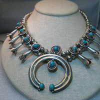 """Sterling Silver Navajo Old Pawn Turquoise Squash Blossom Choker/Necklace, 15.75"""", signed A.L. Recenti, 82.20 grams"""