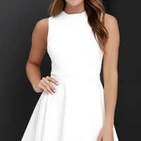 Fun-Loving Ivory Skater Dress