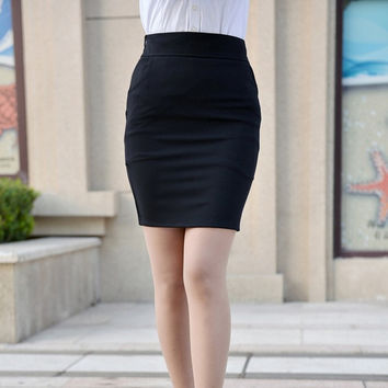 Women Pencil Skirt Sexy Summer Black Business Skirt Elastic OL Formal Skirts Large Size 4XL = 1958576900