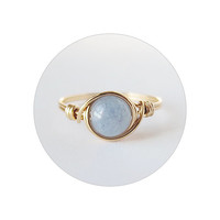 Genuine Aquamarine Ring- unique rings