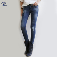 Female Sale New Arrival Korean Designers Brand High Street Autumn Fashionable Women's Plus Size Navy Slim Bleached Ripped Jeans