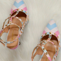 Love At First Sight Pastel Chevron Studded Heels