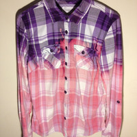 Purple & Pink Dip-Dyed/Bleached Flannel Women's LARGE