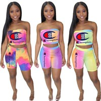 Champion Hot Sale Women Sexy Tie-Dye Strapless Top Shorts Set Two-Piece