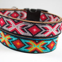 Faux beaded Navajo Spirit dog collar in bold geometric design with black, brown, red and grey