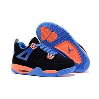 Kids Air Jordan 4 Black/Blue/Orange Sneaker Shoe Size US 11C-3Y-2