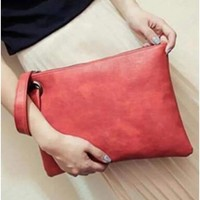 Vegan Leather Clutch Wristlet
