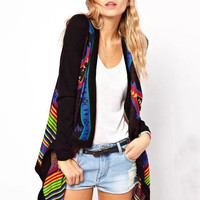 Black Geometric Pattern Print V-neck Knit Cardigan