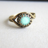 Mint Ring Exotic Boho Blue Mint Green Ring Pale Light Aqua Turquoise Teal Arabian Princess Indie Chic Ring