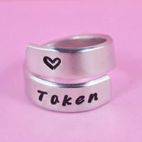 Taken- Hand Stamped, Aluminum Spiral Ring, Taken Ring, Heart Ring, Statement Ring, Unisex Love Ring, Personalized Cuff Style Ring