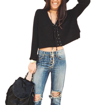 Lace Up Loose Long Sleeve Crop Top FREE SHIPPING