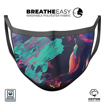 Liquid Abstract Paint Remix V31 - Made in USA Mouth Cover Unisex Anti-Dust Cotton Blend Reusable & Washable Face Mask with Adjustable Sizing for Adult or Child