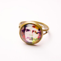 Glass Ring, Che Guevara Ring, Che Ring, Photo Pendant Ring, Vintage Jewelry