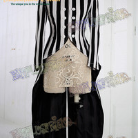 Cyber Punk Stand Collar Double-Breasted Stripe Cotton Twill Unisex Tuxedo