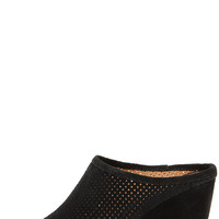 Seychelles Perfect Match Black Suede Leather Mule Wedges