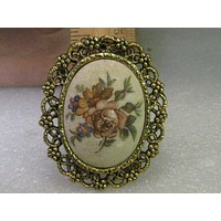 """Vintage Brooch & Pendant Combination, Floral Cameo Style - Decorative Gold Tone Ornate Frame, 2.5"""""""