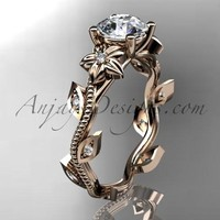 14kt rose gold diamond leaf and vine wedding ring, engagement ring. ADLR151. nature inspired jewelry