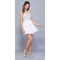White Bead Applique Bodice Short Cocktail Dress U-Shape Back