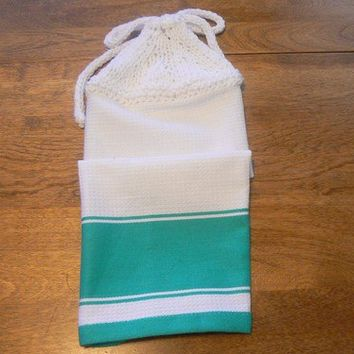 Aqua Banded Hanging Kitchen Towel With Hand Knit Topper and Ties
