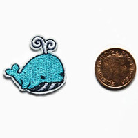 Small Patches - Tiny Patch - Whale Patches - Micro Patches - Small Embroidery Patch - Small Animal Patches Embroidered Blue Iron On Patch