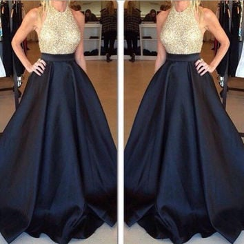 Shiny Bodice Ball Gown Prom Dresses Halter Neckline Satin Skirt pst0073