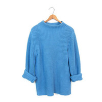Blue Loose Knit Sweater Basic 90s Open Stitch Mock Neck Sweater Simple Preppy Pullover Vintage Minimal Boxy Sweater Small Medium