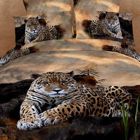 4pc bedding set 3D bedding set with Cool Leopard King/ Queen Size Custom bedding Sets Oil Painting style Bedding set Custom Bedding set