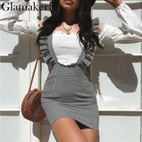 Glamaker Plaid ruffle sexy summer jumper skirt Women sleevless casual mini straps skirt high waist checkered short pencil skirt