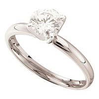 14kt White Gold Women's Round Diamond Solitaire Bridal Wedding Engagement Ring 3/4 Cttw - FREE Shipping (US/CAN)