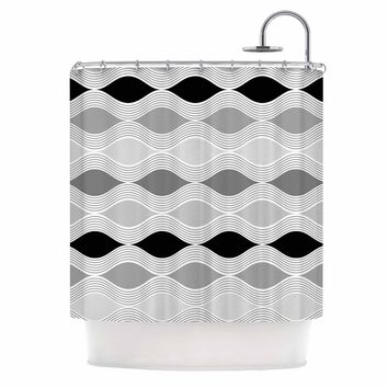 Julia Grifol Waves In Gray White Gray Geometric Pattern Digital Vector Shower Curtain