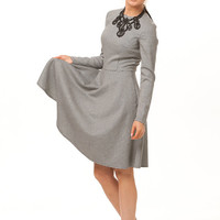 Grey Maxi Dress,A-line Dress Long Sleeve ,Dress Gingham Autumn Winter,classic and Feminine Dress Retro Style.