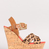 Supra-S Leopard Strappy Open Toe Platform Wedge