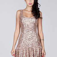 Speakeasy Siren Deco Sequined Flapper Dress