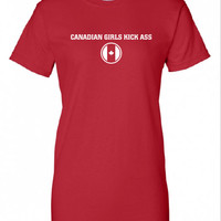 Canadian Girls Kick Ass Pride Beer Proud Olympic Team Military hockey support T-Shirt Tee Shirt Mens Ladies swag tv Canada Day ML-262