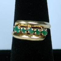 Vintage 18k Emerald Ring Emerald Band Handmade Genuine Emerald Ring Natural Emerald Ring May Birthstone