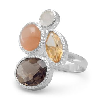 Sterling Silver Rainbow and Peach Moonstone, Citrine and Smoky Quartz Ring