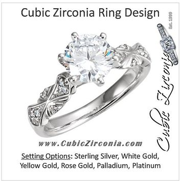 Cubic Zirconia Engagement Ring- The Melinda (0.25-1.0 Carat Round-Cut with Double-Bowtie Accented Band)