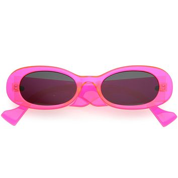 Go Pink! Neon Retro Rounded Thick Rimmed Vintage Oval Sunglasses D263