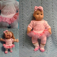 """Baby Doll Clothes to fit Bitty Baby® """"Cuddly Bunny"""" (15 inch) fits Cabbage Patch® doll outfit dress shorts booties headband pink rabbit  G3"""