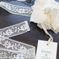Babe & Tess Girl Lace Flower Belt -  VIC 9 - NATURAL - FINAL SALE