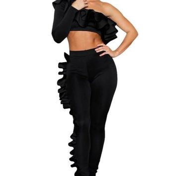 One Shoulder Ruffle Top and Pants