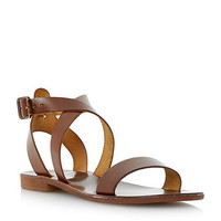 Womens Dune Brown leather cross over strap flat sandal