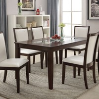 7 pc Eastfall collection espresso finish wood dining table set with white faux leather upholstered chairs