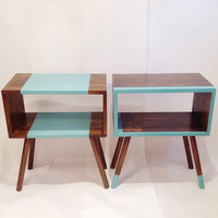 Mid Century Tables, Midcentury Modern Bedside Table, Scandinavian Table, Retro Nightstand, Coffee And End Tables, Turquoise Table